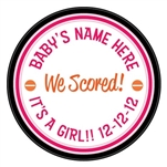 We scored! Baby girl birth announcement hockey puck. What a unique idea to announce the birth of your baby. This is an official hockey puck, with a photo of your newborn. Give a special hockey birth announcement puck to show off your future pro.