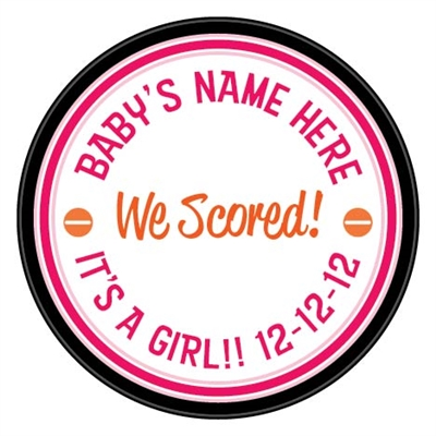 baby girl birth announcement custom printed pucks