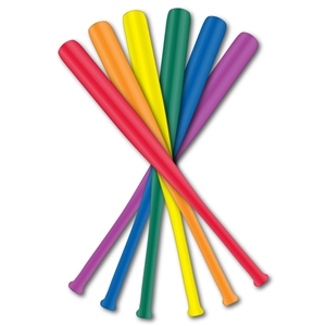 Primary and secondary colors of mini baseball bats.