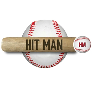 "ENGRAVED SLOGAN BAT<br>18"" MINI BASEBALL BAT<br>""HIT MAN""<br> natural mini baseball bat"