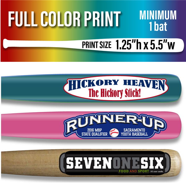 "Custom Vinyl Printed Natural or Colored 18"" Baseball Bat - 1 piece minimum - Full Color Print"