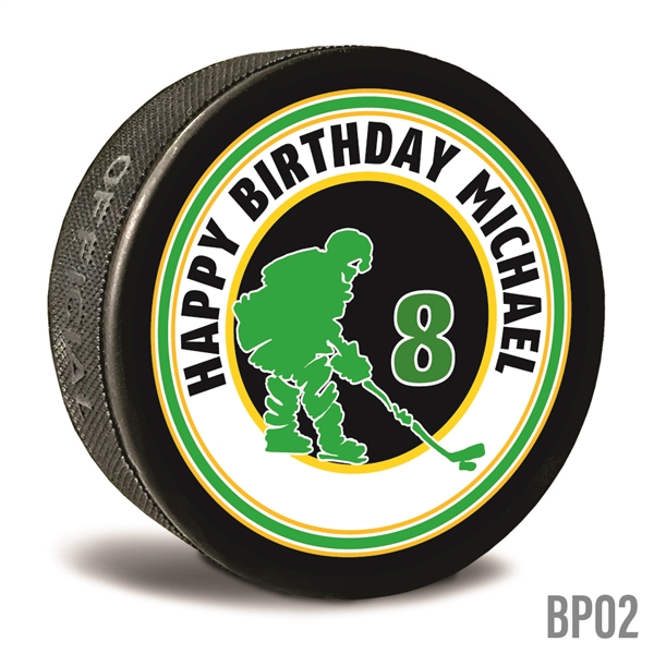 Birthday Hockey Puck custom printed pucks