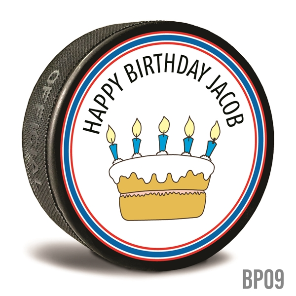 birthday cake custom printed pucks