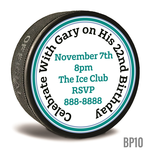 birthday invitation custom printed pucks
