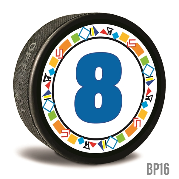 graphics and number custom printed pucks