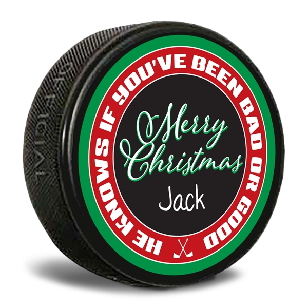 personalized Christmas hockey puck