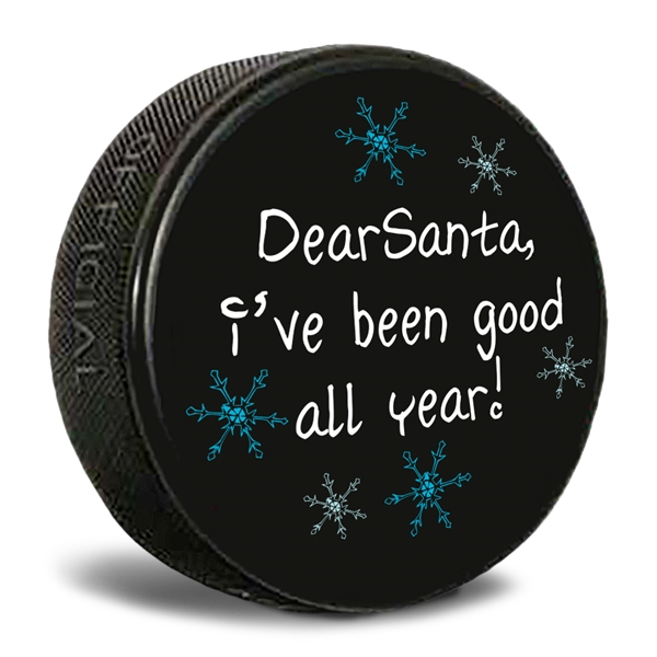 dear santa i've been good hockey puck.