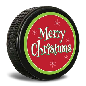 merry christmas hockey puck.