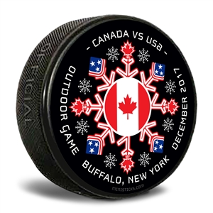 Canada vs USA custom printed pucks for events and logo pucks.