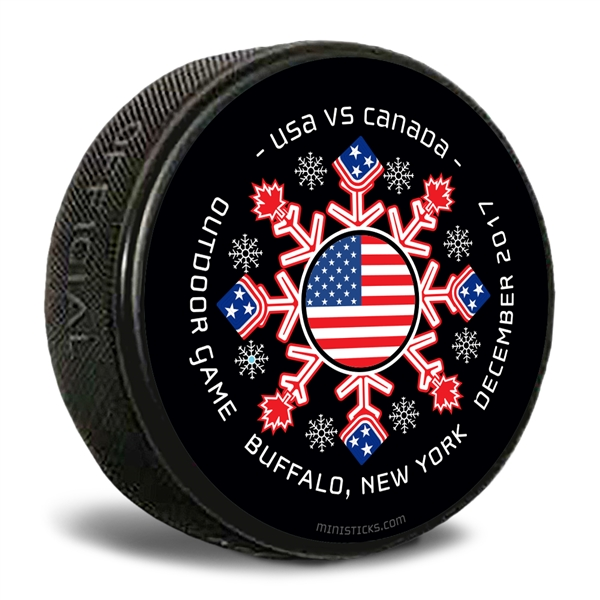 USA vs Canada custom printed pucks for events and logo pucks.