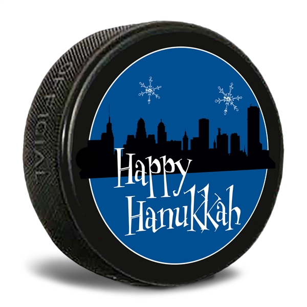 Happy Hanukkah Buffalo skyline hockey puck.