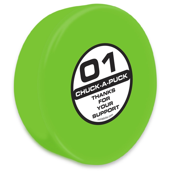 Chuck-A-Puck green hockey puck, foam hockey puck green Chuck-A-Puck