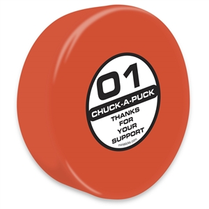 Chuck-A-Puck orange hockey puck, foam hockey puck orange Chuck-A-Puck