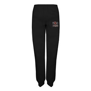 Youth black jogger pants with the Hoffman Dance Studio logo