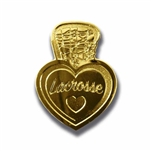 i love lacrosse lapel pin with a gold color finish