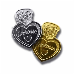 i love lacrosse lapel pins set of two. One lacrosse lapel pin is silver. The other lacrosse lapel pin is gold.