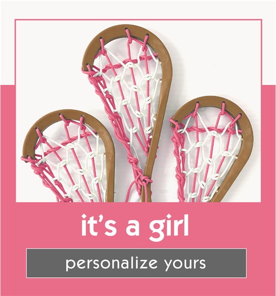 lacrosse gift for baby<br>pink and white laces