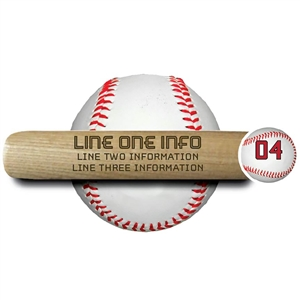 "engraved 18"" souvenir baseball bat ""engraved with three lines of text"" The top line is bold text."