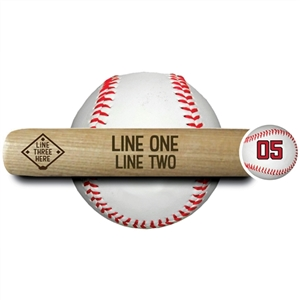 "engraved 18"" souvenir baseball bat ""add two lines of text"" This also has a picture of a baseball player inside a diamond shape box."