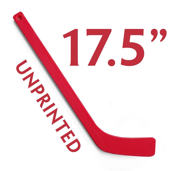 unprinted red plastic mini hockey stick 17.5""