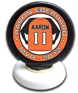 personalized mounted hockey puck trophy with customizable hockey puck