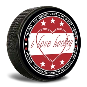 i love hockey - greatest sport in the world custom printed pucks