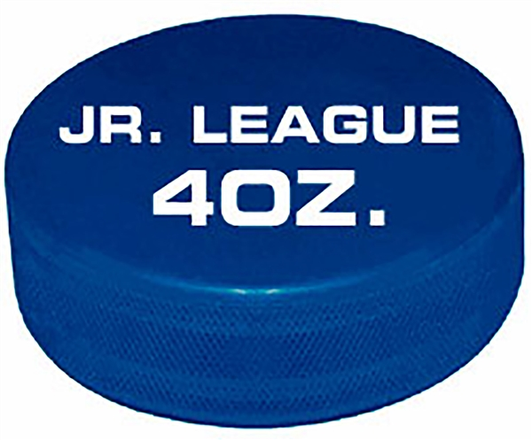 official game puck 4oz. blue jr. hockey puck not  custom printed pucks