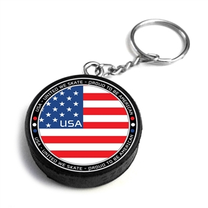 hard rubber hockey puck keychain