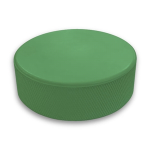 green hockey puck not a custom printed puck