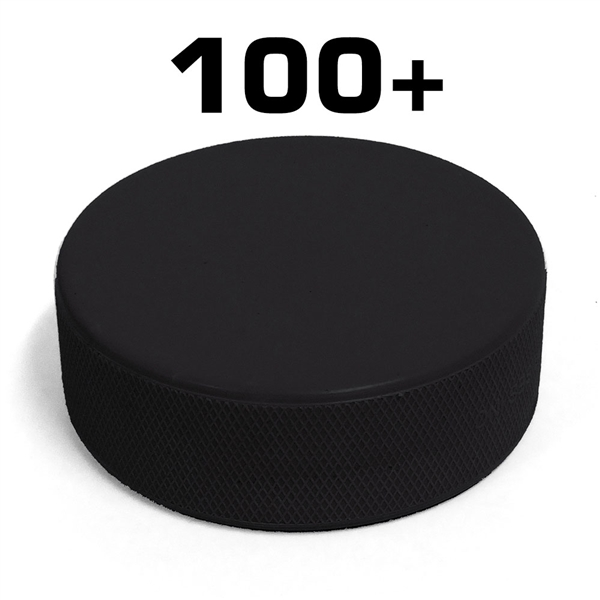Blank black hockey puck and bulk black hockey pucks. 100+ piece pricing