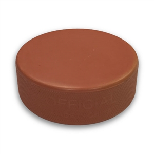 orange hockey puck, blank hockey puck