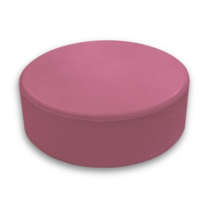 Blank pink hockey puck and bulk pink hockey pucks
