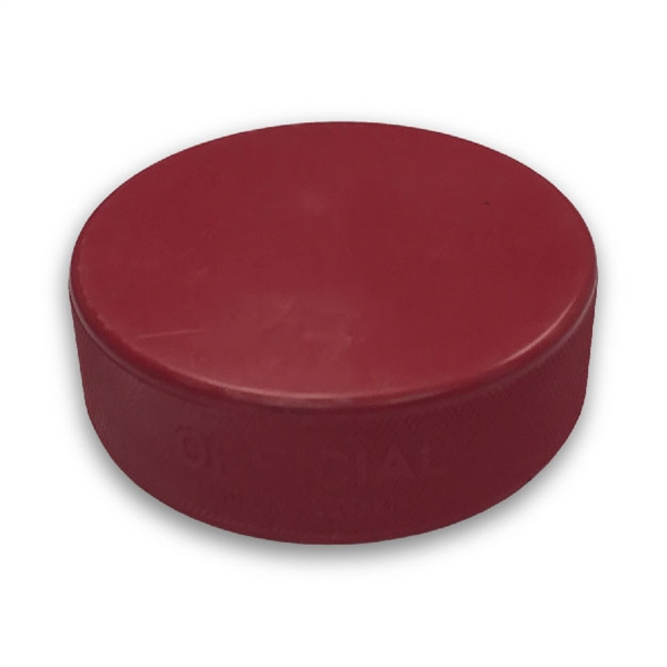 Blank red hockey puck and bulk red hockey pucks