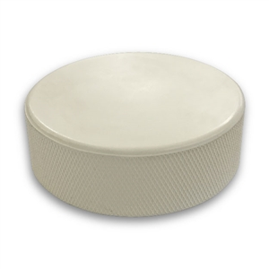White pucks are frequently used for goalie training and can be printed