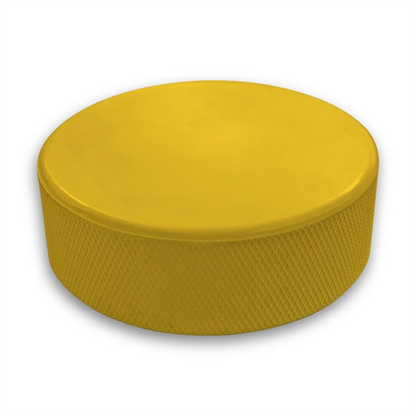 yellow hockey puck not a custom printed puck