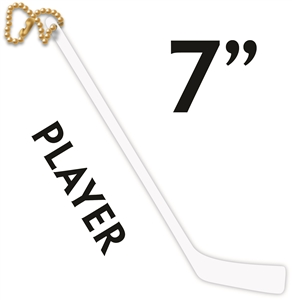 "Unprinted 7"" Hockey Stick Player hockey promotional gift. White plastic mini hockey stick with ball chain attachment."