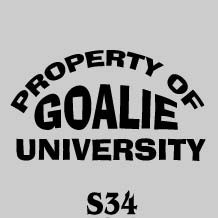 Goalie University hockey tee shirt