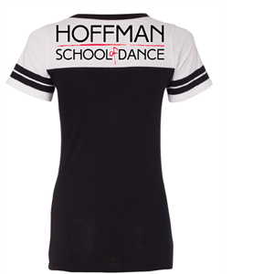 Get your Hoffman Dance Studio football style tee shirt with logo