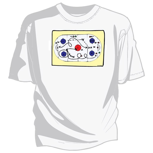 Printed Tee Shirt with Strategy Drawing on center chest.