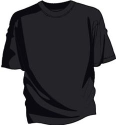 This is a black tee shirt. There is nothing printed on it.