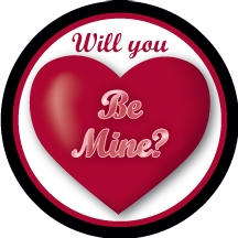 Custom hockey pucks Valentine Puck o2 in the series of Customized Pucks