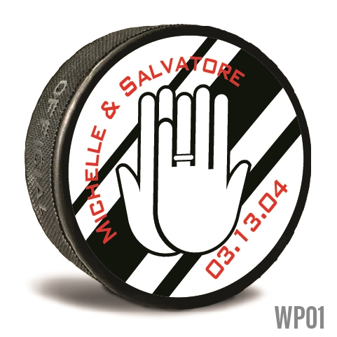 Hands with band custom printed pucks are customizable hockey pucks and hockey wedding favors