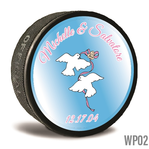 Wedding doves custom printed pucks are customizable hockey pucks and hockey wedding favors