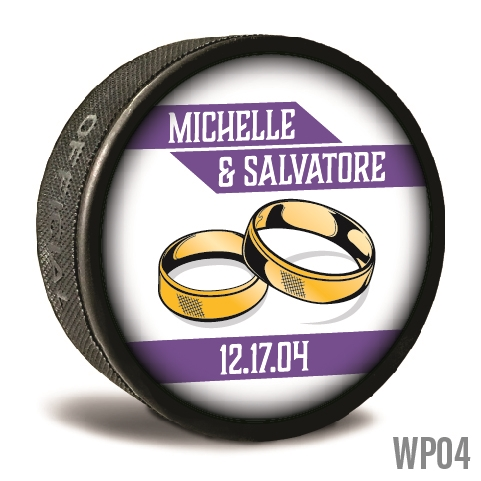 Rings stacked custom printed pucks are customizable hockey pucks and hockey wedding favors