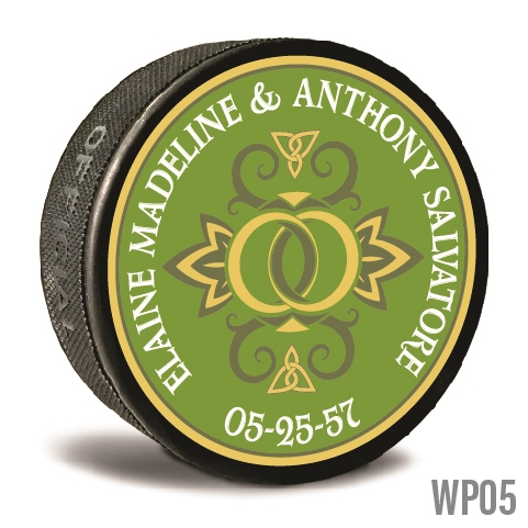 Wedding rings custom printed pucks are customizable hockey pucks and hockey wedding favors