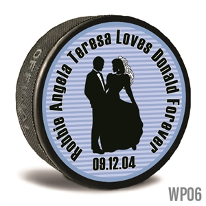 Bride and groom custom printed pucks are customizable hockey pucks and hockey wedding favors