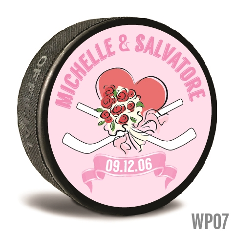 Bouquet and heart custom printed pucks are customizable hockey pucks and hockey wedding favors