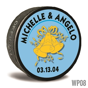 Wedding bells custom printed pucks are customizable hockey pucks and hockey wedding favors