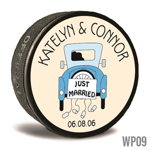 Old car custom printed pucks are customizable hockey pucks and hockey wedding favors