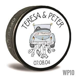 Sport car custom printed pucks are customizable hockey pucks and hockey wedding favors